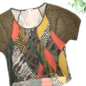 WESTON WEAR | sz XS abstract tribal sheer blouse